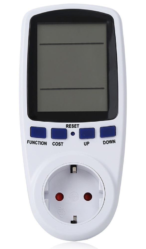 Digital LCD Power Meter Measuring (Current, Voltage, Watt, Energy Analyzer Meter) Outlet Socket (230V / 16A)