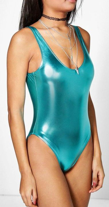 Amman Boutique Metallic Scoop Back Swimsuit (Marine)