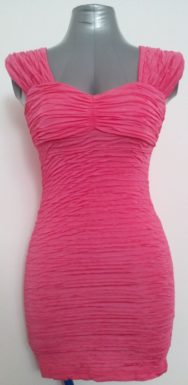 River Island Hot Pink Sleeveless Ruched Ripple Bandage Bodycon Mini Dress