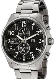 Invicta 0379 Men's Watch (Invicta II Collection, Carbon Fiber Black Dial, Swiss Movement, Stainless Steel, Multifunction Chronograph)