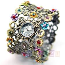 Lady Flower Vintage Bronze Multicolour Crystal Bangle Watch